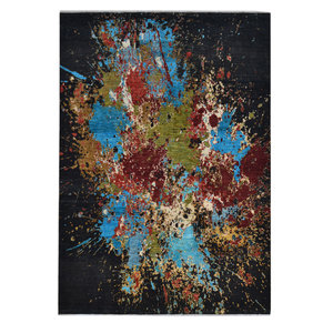 Hand knotted 9'7x6'6 Modern  Art Deco Wool Contemporary art painting Rug