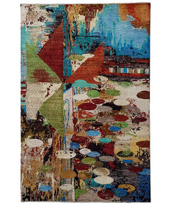 Hand knotted 9'67x6'56 Modern  Art Deco Wool Carpet Painting Art Rug abstract
