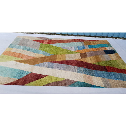 9'77x6'46  Hand knotted Rug Modern Art Deco Wool Gabbeh Carpet multii color