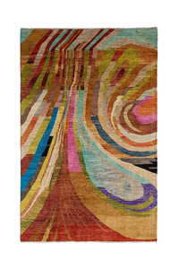 Hand knotted 9'84x6'36 Modern  Art Deco Wool Rug Abstract Carpet colorful