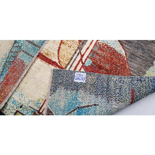 Handgeknoopt Modern Art Deco tapijt 289x197 cm oosters kleed vloerkleed  multi