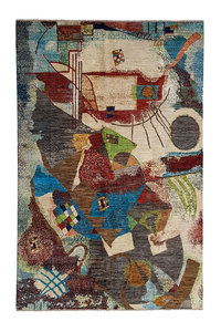 kandinsky Hand knotted 9'48x6'46 Modern  Art Deco Wool Rug  Abstract Carpet