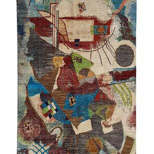 kandinsky Hand knotted 9'48x6'46 Modern  Art Deco Wool Rug  Abstract Carpet