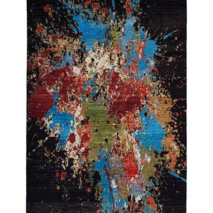 Hand knotted 9'44x6'72 Tapis Modern  Art Deco Wool Rug Abstract Carpet multii