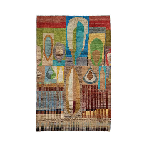 Hand knotted  9'84x6'46 Feet Modern Art Deco Wool Rug  Abstract Carpet carpets