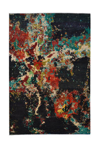 Hand knotted 9'6x6'3 Modern  Art Deco Wool Rug Abstract Carpet multi color black