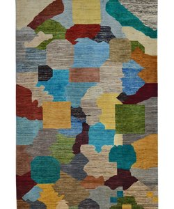 Hand knotted multi color gabbeh 9'9x6' Art Deco Wool Rug Abstract Carpet