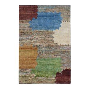 Handgeknüpft Modern Art Deco  289x196 cm   Abstrakt Wolle Teppich multi