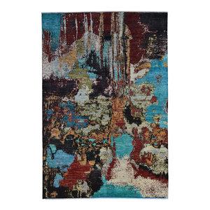 Handgeknüpft Modern Art Deco  296x198 cm   Abstrakt Wolle Teppich multi