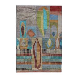 Hand knotted 9'7x6'6 Modern  Art Deco Wool Rug teppich Abstract Carpet