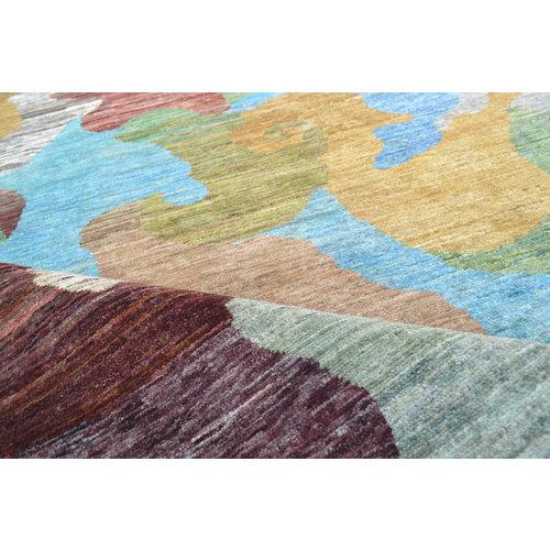 Handgeknüpft Modern Art Deco  291x202 cm   Abstrakt Wolle Teppich multi