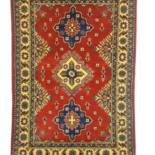 Tribal Hand knotted  carpet  Royal kazak Red 4'88x3'21  Traditional Wool Rug