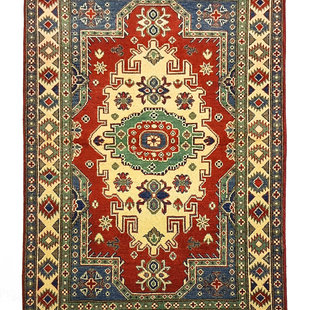 Tribal Hand knotted  carpet  Royal kazak Red 4'88x3'24  Traditional Wool Rug