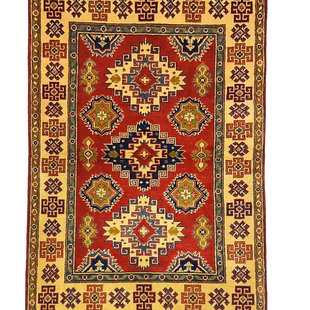 Tribal Hand knotted  carpet  Royal kazak Red 4'98x3'11  Oriental Wool Rug