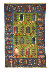 Tribal Hand knotted  carpet  Royal kazak  green 4'88x3'18 Oriental Wool Rug