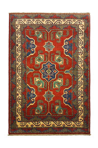 Traditional Wool Rug Tribal Hand knotted  carpet  Royal kazak Red 5'01x3'31