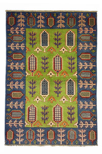 Traditional Wool Rug Tribal 4'95x3'34 Hand knotted  carpet  Royal kazak