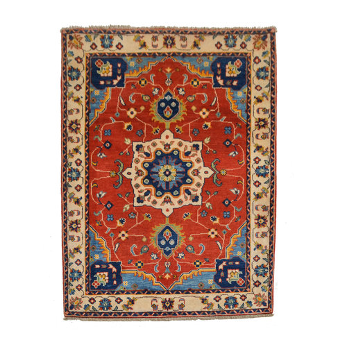 Traditional Wool Rug Tribal 4'95x3'60 Hand knotted  carpet  Royal kazak