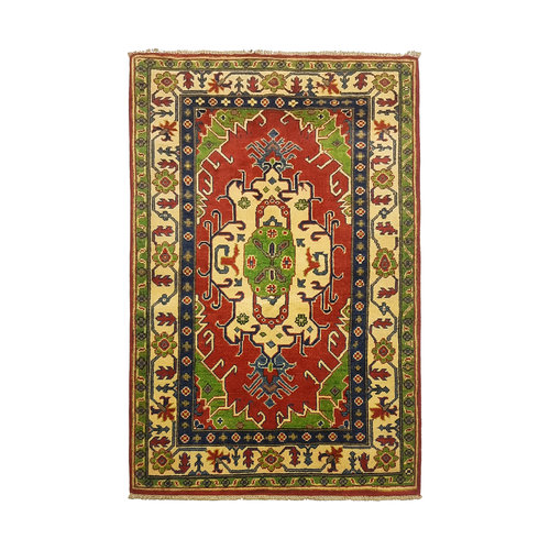 Traditional Wool Red Rug Tribal 4'79x3'34 Hand knotted  carpet  Royal kazak