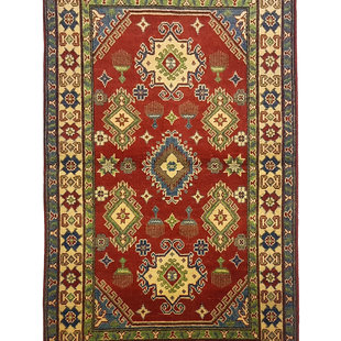 Traditional Wool Red Rug Tribal 5'15x3'08 Hand knotted carpet  Royal kazak