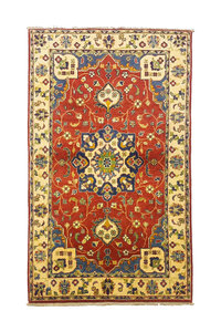 Traditional Wool Red Rug Tribal 4'92x2'91 Hand knotted carpet  Royal kazak