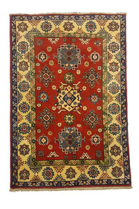 Traditional Wool Red Rug Tribal 4'65x3'28 Hand knotted carpet  Royal kazak