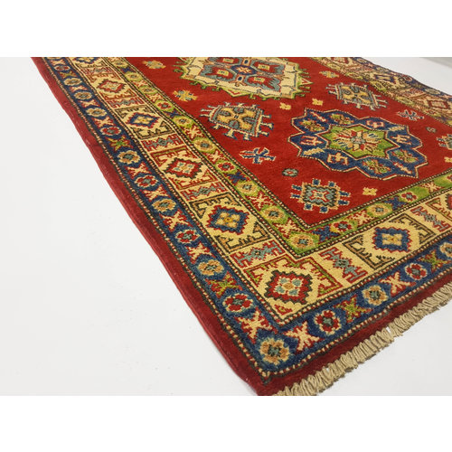 Traditional Wool Red Rug Tribal 4'85x3'01 Hand knotted carpet  Royal kazak