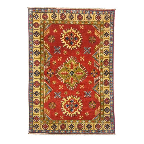 Handgeknoopt Royal Rood  kazak tapijt 147x98 cm   vloerkleed Traditional