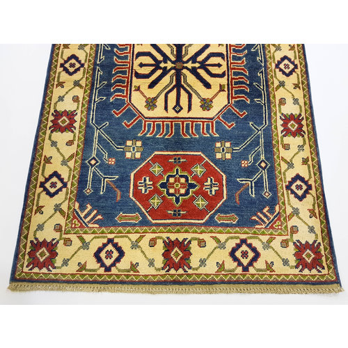 Traditional Wool Rug Tribal 5'51x3'51 Hand knotted  carpet  Blue kazak