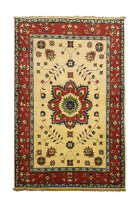 Traditional Wool Rug Tribal 4'92x3'21 Hand knotted  carpet  Royal kazak