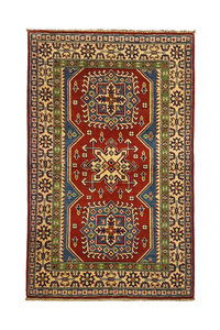 Traditional Wool Red Rug Tribal 4'92x3'14 Hand knotted  carpet  Royal kazak