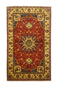 Traditional Wool Red Rug Tribal 4'92x2'98 Hand knotted  carpet  Royal kazak