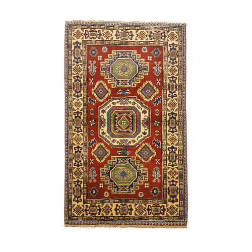 Traditional Wool Red Rug Tribal 5'05x3'11 Hand knotted  carpet  Royal kazak