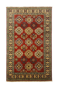 Geometric Wool Red Rug Tribal 4'85x3'08 Hand knotted  carpet  Royal kazak