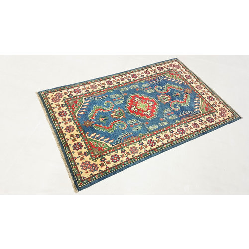 Geometric Wool Rug Tribal 5'05x3'18 Hand knotted  carpet  Blue kazak