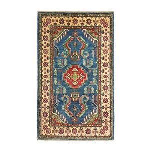 Geometric Wool Rug Tribal 5'05x3'18 Hand knotted  carpet  Blue kazak