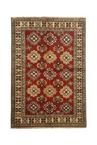 Geometric Tribal Wool Red Rug 4'69x3'34 Hand knotted  carpet  Royal kazak