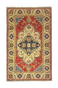 Geometric Wool Rug Tribal 4'85x3'18 Hand knotted  carpet  Royal kazak