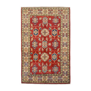 Hand knotted  Rug 4'98x3'24 kazak Carpet wool rug Red traditional