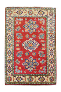 Hand knotted carpet traditional   5 'x 3'34  kazak Rug  Red
