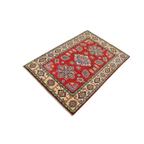 Hand knotted carpet traditional   5'x 3'34  kazak Rug  Red