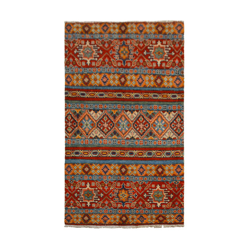 shall Traditional Wool Rug Tribal 5'01x3'11 Hand knotted  carpet  Royal kazak