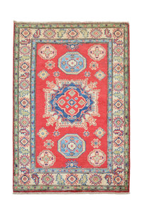 Geometric Tribal Wool Red Rug 4'92x3'37 Hand knotted  carpet  Royal kazak