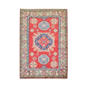 Geometric Tribal Wool Red Rug 4'92x3'37 Hand knotted  carpet  Royal kazak