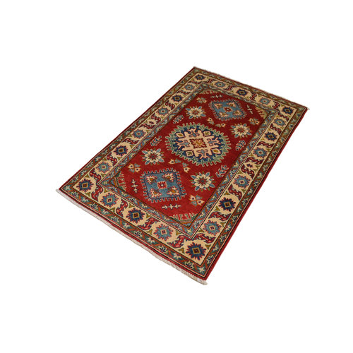 Traditional Wool Red Rug Tribal 4'98x3'21 Hand knotted carpet  Royal kazak