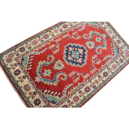 Handgeknoopt Royal Rood  kazak tapijt 155x100 cm   vloerkleed Traditional