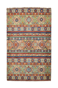 Traditional Wool Rug Tribal 5'21x3'31 Hand knotted  carpet Shal kazak