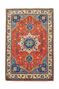 Geometric Wool Red Rug Tribal 5'11x3'37 Hand knotted  carpet  Royal kazak