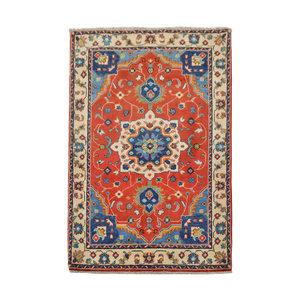 Geometric Wool Red Rug Tribal 5'11x3'37 Hand knotted  carpet  Royal kazak