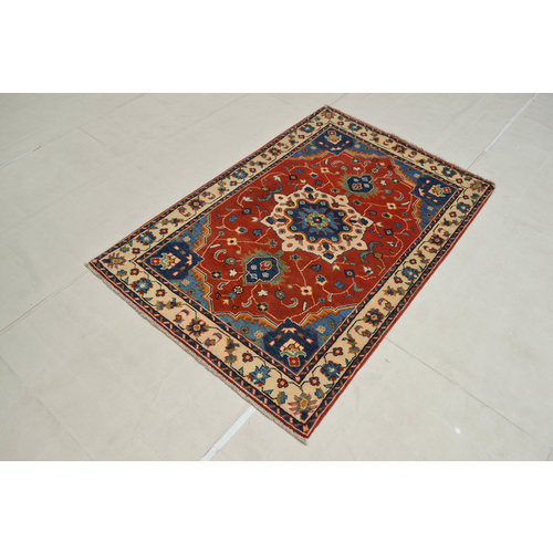 Handgeknoopt Royal Rood kazak tapijt 156x103 cm   vloerkleed Traditional